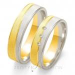 Dwukolorowe obrączki ślubne złote z trzema cyrkoniami
