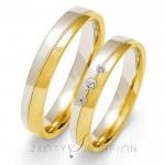 Obrączki ślubne złote stylowo zdobione z brylantami