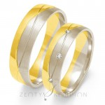 Obrączki ślubne białe i żółte złote z cyrkoniami