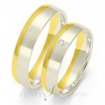 Dwubarwne stylowe obrączki ślubne z diamentami