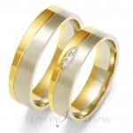 Dwubarwne eleganckie obrączki ślubne z cyrkoniami