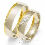Dwukolorowe eleganckie obrączki ślubne z cyrkoniami