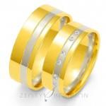 Wytworne szerokie obrączki ślubne z żółto-białego złota