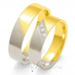 Obrączki ślubne złote z ukośnie zakutymi kamieniami