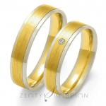 Obrączki ślubne z żółtym matowym złotem pośrodku