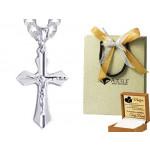 Srebrny łańcuszek pancerka z krzyżykiem