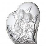 Obrazek srebrny na Chrzest Święty Anioł Stróż półserce Grawer GRATIS
