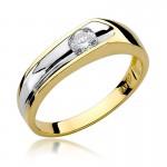 Nietuzinkowy złoty pierścionek z białym złotem i diamentem