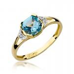 Wyrafinowany pierścionek zaręczynowy z białego złota przyozdobiony topazem i diamentami