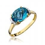 Efektowny złoty pierścionek z topazem i diamentami
