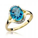 Ekskluzywny złoty pierścionek ozdobiony brylantami i topazem