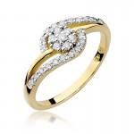 Finezyjny złoty pierścionek z diamentami