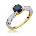 Urzekający złoty pierścionek z szafirem i diamentami