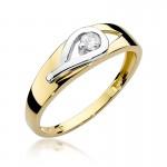 Niezwykły złoty pierścionek ozdobiony diamentem