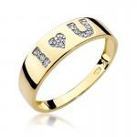 Uroczy złoty pierścionek z diamentami