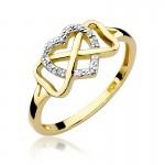 Uroczy złoty pierścionek z serduszkiem i wplecionym znakiem nieskończoności ozdobiony brylantami