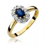 Ekskluzywny złoty pierścionek z szafirem i diamentami