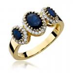 Oryginalny złoty pierścionek bogato ozdobiony szafirami i brylantami