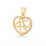 Oryginalna złota zawieszka serce z cyrkoniami