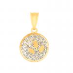 Złota ażurowa zawieszka z białym złotem