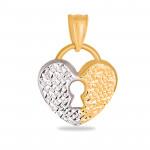 Złota zawieszka serduszko w kształcie kłódki z białym złotem