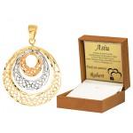 Złota zawieszka trzy asymetryczne kółka z żółtego białego i różowego złota