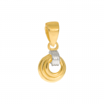 Złota zawieszka trzy połączone kółeczka z białym złotem