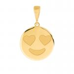 Złota zawieszka emotikon emoji serduszka