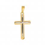 Złota zawieszka krzyżyk z białym złotem