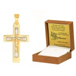 Złota zawieszka krzyżyk z Jezusem i białym złotem