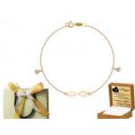 Złota bransoletka nieskończoność z serduszkami