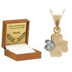 Szykowny złoty komplet koniczynka zawieszka z łańcuszkiem