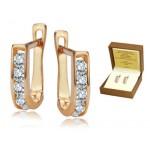 Urocze złote kolczyki z białą cyrkonią