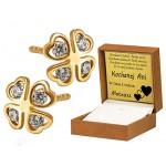Urocze złote kolczyki koniczynki z cyrkoniami