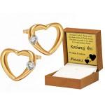 Piękne złote kolczyki serduszka z cyrkonią