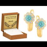 Złote kolczyki dziecięce kwiatuszki z niebieską cyrkonią