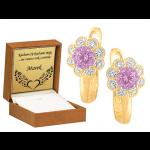 Złote kolczyki dziecięce kwiatuszki z jasnoróżową cyrkonią