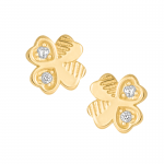Złote kolczyki Koniczynki z cyrkoniami