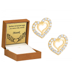 Złote kolczyki asymetryczne serduszka z cyrkoniami