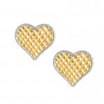 Złote kolczyki diamentowane serduszka z białym złotem