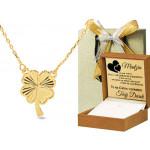 Złoty naszyjnik celebrytka diamentowana koniczynka Prezent Grawer GRATIS