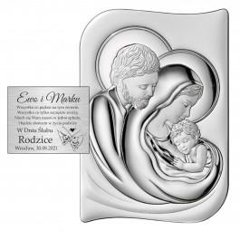 Obrazek srebrny przedstawiający wizerunek Świętej Rodziny Grawer gratis