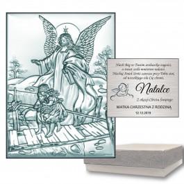 Srebrny obrazek Anioł Stróż na kładce na Chrzest z grawerem GRATIS