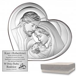 Ujmujący srebrny obraz z wizerunkiem Świętej Rodziny w kształcie serca