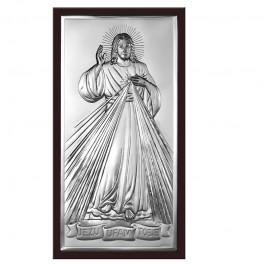 Srebrny obrazek Jezus Miłosierny z napisem Jezu ufam Tobie w eleganckiej brązowej ramie
