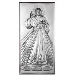 Srebrny obrazek Jezus Miłosierny z napisem Jezu ufam Tobie prostokątny wzór