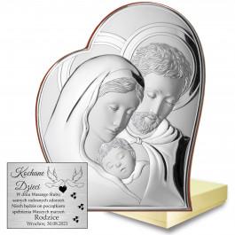 Obrazek srebrny przedstawiający Świętą Rodzinę w symbolicznym sercu